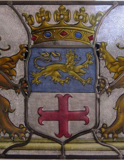 Het wapen van Zutphen. Glas-in-loodraam. Gebrandschilderd