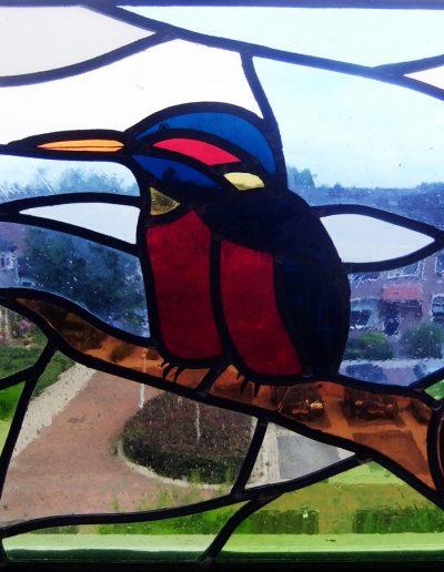 IJsvogel. Glas-in-loodraam gebrandschilderd