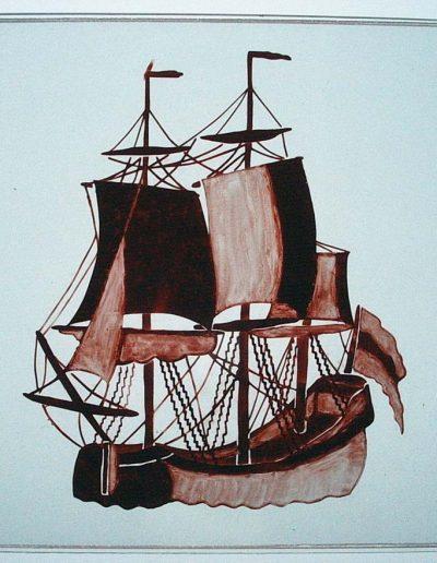 Boot tussen 3 glasschijven. Gezandstraald, geschilderd. Glasfusen