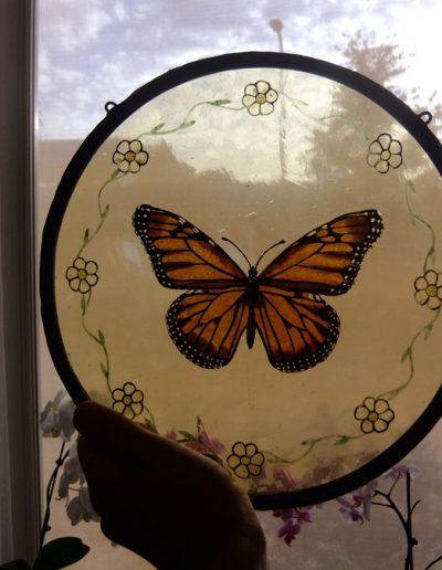 Vlinder. Gebrandschilderd